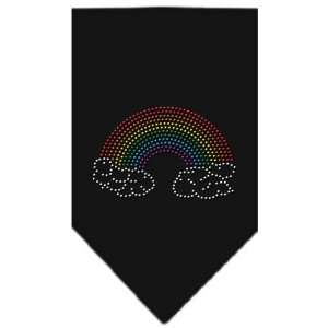Dog Supplies Rainbow Rhinestone Bandana Black Large Pet