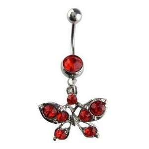 Butterfly Belly Ring   Red Crystal Butterfly Navel Ring Toys & Games