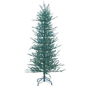 6 Teal Tinsel Artificial Christmas Tree with Blue Lights