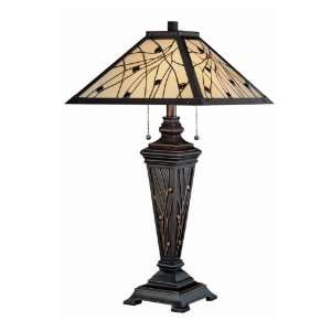 Remus Glass Shade Tiffany Style Table Lamp Dark Bronze/Tiffany