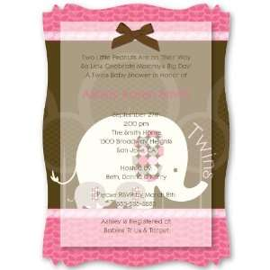 Twin Pink Baby Elephants   Personalized Vellum Overlay Baby Shower