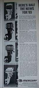 1963 MERCURY Outboard Boat Motor Half the News Ad