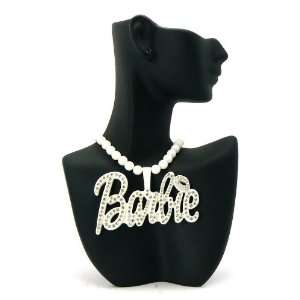 NEW NICKI MINAJ BARBIE White Stone Pendant w/Ball Chain LG Jewelry