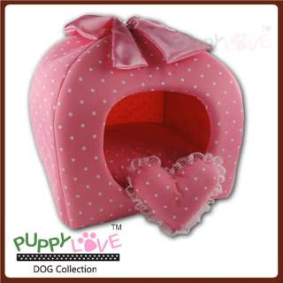 Pink Princess Pet Dog Cat Soft Bed House Tent Small+toy