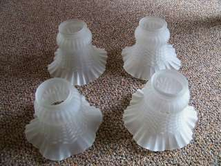 Vintage Frosted Glass Lamp Shades ~ ruffled glass & decorative design