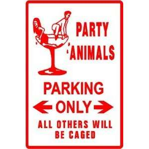 PARTY ANIMALS PARKING fun game play CUTE sign