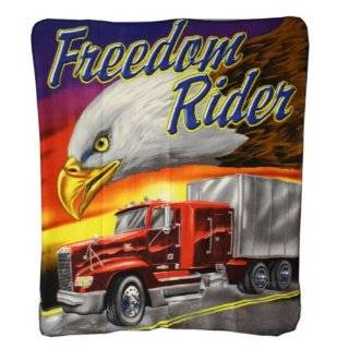 Brisco 50 x 60 Inch Freedom Rider Eagle Head with Red Semi Truck Cab
