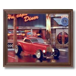 Framed Cherry Ford Street Rod Car Cafe Diner Wall Decor Pictures Art